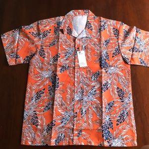 🏝NWT🏝Classic Orange Black & White Hawaiian Shirt